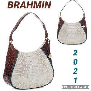 NWT BRAHMIN AMIRA SHOULDER BAG CROCLEATHER SATCHEL